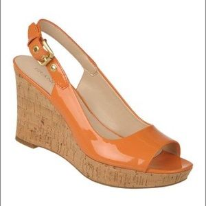 FRANCO SARTO Orange Colley Patent Wedge Sandles 8M